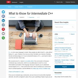 What to Know for Intermediate C++