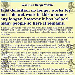 What is a Hedge Witch?