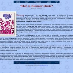 What is Klezmer Music?