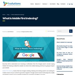 What is Mobile first indexing?