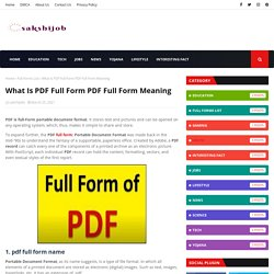 What Is PDF Full Form PDF Full Form Meaning