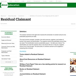 What Is a Residual Claimant?
