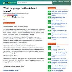 What language do the Ashanti speak?