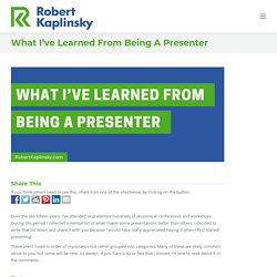 What I've Learned From Being A Presenter