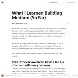 What I Learned Building Medium (So Far)
