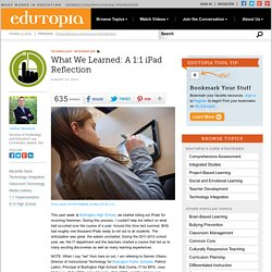 What We Learned: A 1:1 iPad Reflection