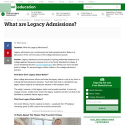 What are Legacy Admissions?