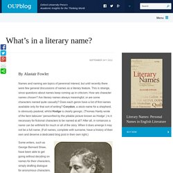 What's in a literary name?