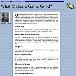 What Makes a Game Good?