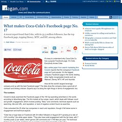 What makes Coca-Cola's Facebook page No. 1?