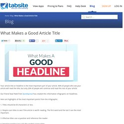 What Makes a Good Article Title
