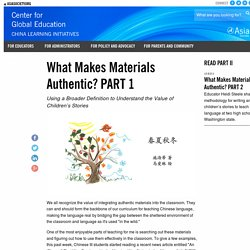 What Makes Materials Authentic? PART 1
