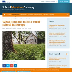 What it means to be a rural school in Europe