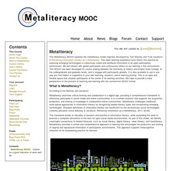 What is Metaliteracy ~ Metaliteracy MOOC