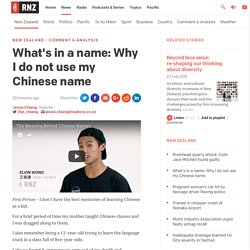 What's in a name: Why I do not use my Chinese name