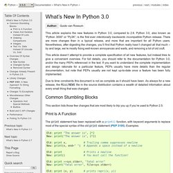 What's New In Python 3.0 — Python v3.2.3 documentation