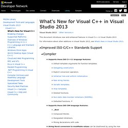 What's New for Visual C++ in Visual Studio 2013