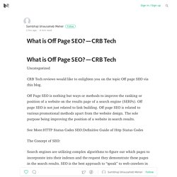What is Off Page SEO? — CRB Tech
