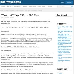What is Off Page SEO? – CRB Tech