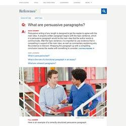 What are persuasive paragraphs?