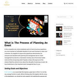 What is The Process of Planning An Event