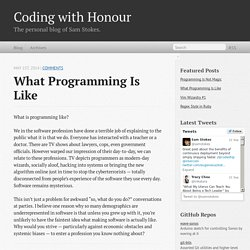What Programming Is Like - Coding with Honour