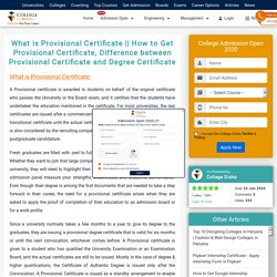 How to Get Provisional Certificate