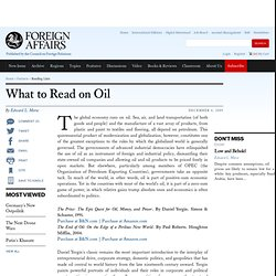 What to Read on Oil