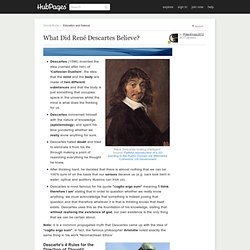 Famous Philosophers: What Did René Descartes Believe?