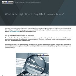 What is the right time to Buy Life Insurance Leads?