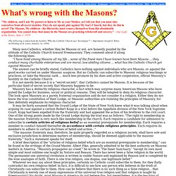 What's wrong with the Masons?
