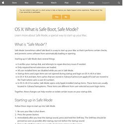 OS X: What is Safe Boot, Safe Mode? - Apple Support