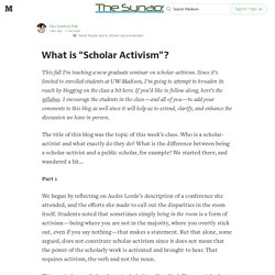 "What is ""Scholar Activism""? — The Synapse"