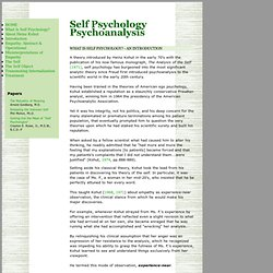 What is Self Psychology?