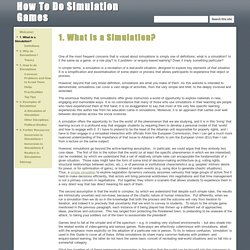 1. What is a Simulation? - How To Do Simulation Games