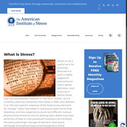 What is Stress? - The American Institute of Stress