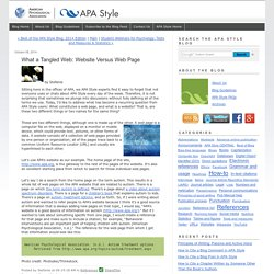 What a Tangled Web: Website Versus Web Page