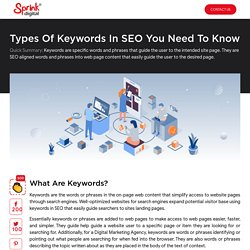 What are the types of keywords in SEO? you need to know about it