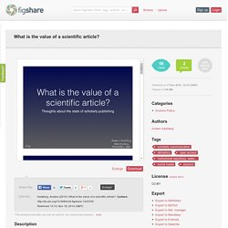 What is the value of a scientific article?