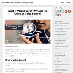 What is Voice Search? What is the future of Voice Search?