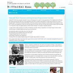 What we do | MOTTAINAI