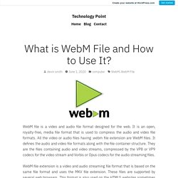 What is WebM File and How to Use It? – Technology Point