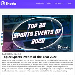 Top 20 Sports Events of the Year 2020