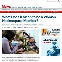 What Does it Mean to be a Woman Hackerspace Member?
