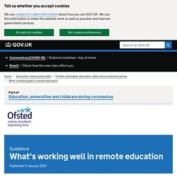 What's working well in remote education
