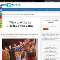 What to Write On Holiday Photo Cards