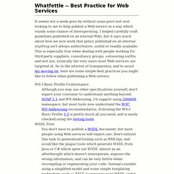 Best Practice for Web Services