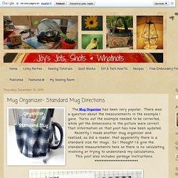 Mug Organizer- Standard Mug Directions