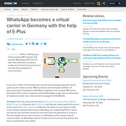 WhatsApp becomes a virtual carrier in Germany with the help of E-Plus