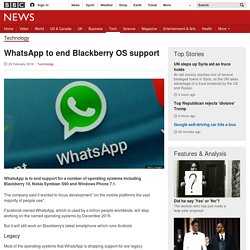 WhatsApp to end Blackberry OS support